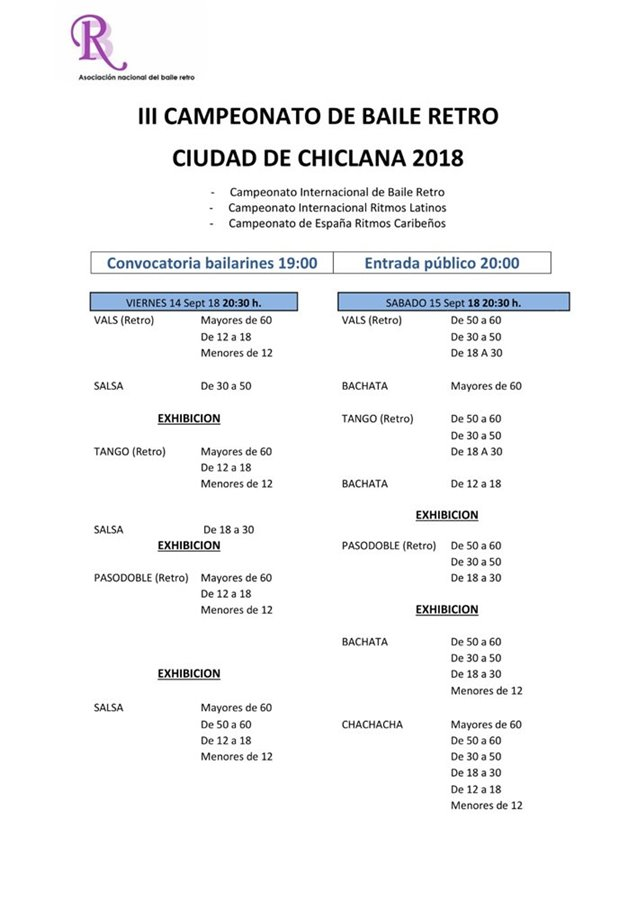 Actualidad Actualidad Cuadrante de horarios del III Campeonato de Baile Retro ciudad de Chiclana 2018