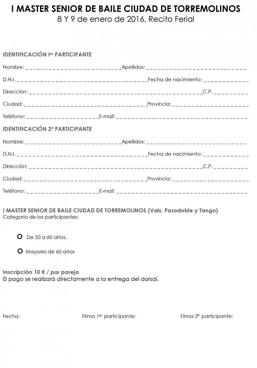 Eventos Inscripción HOJA DE INSCRIPCIÓN EN EL I MÁSTER SENIOR DE BAILE CIUDAD DE TORREMOLINOS
